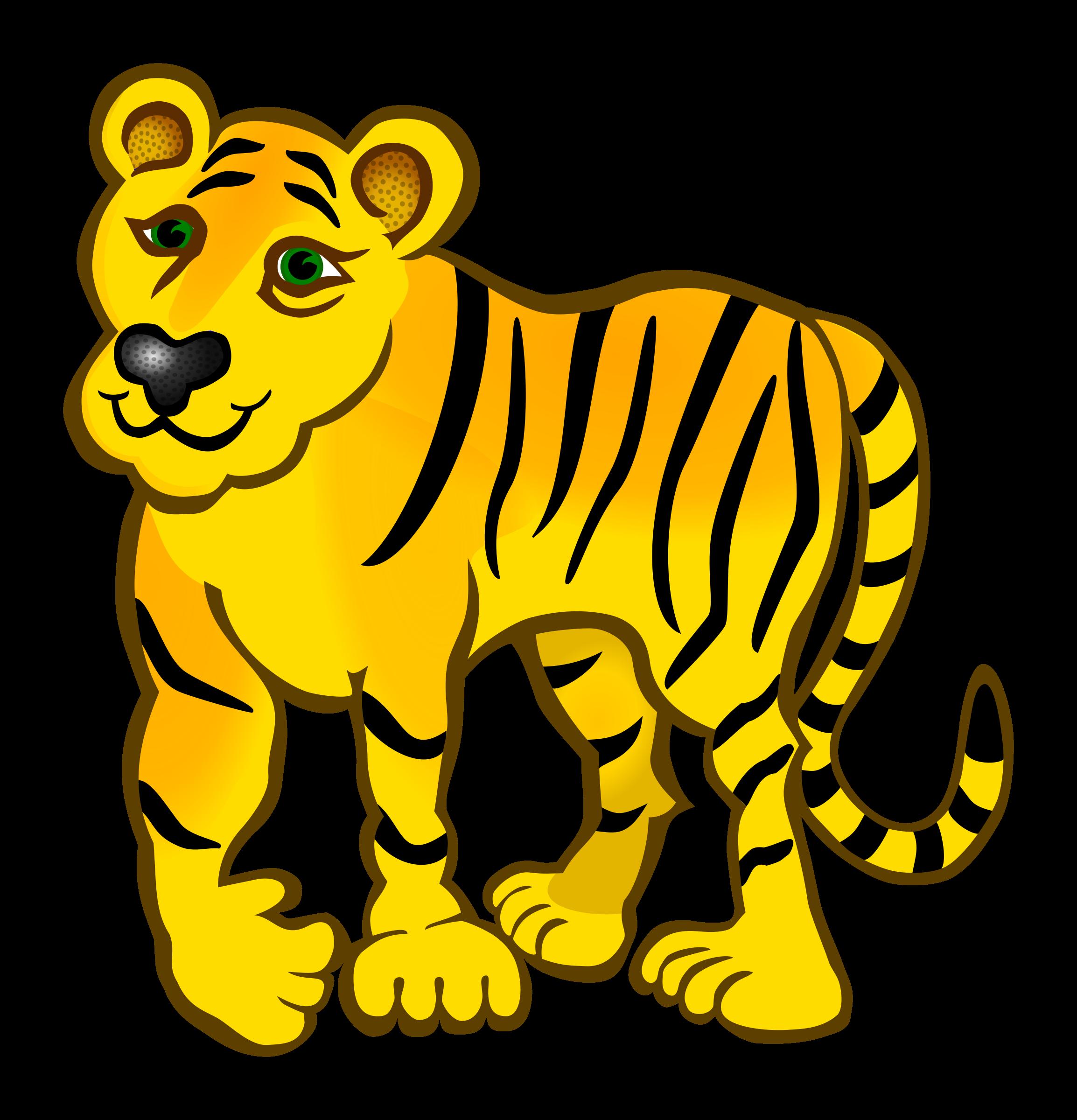 Coloured big image png. Clipart happy tiger