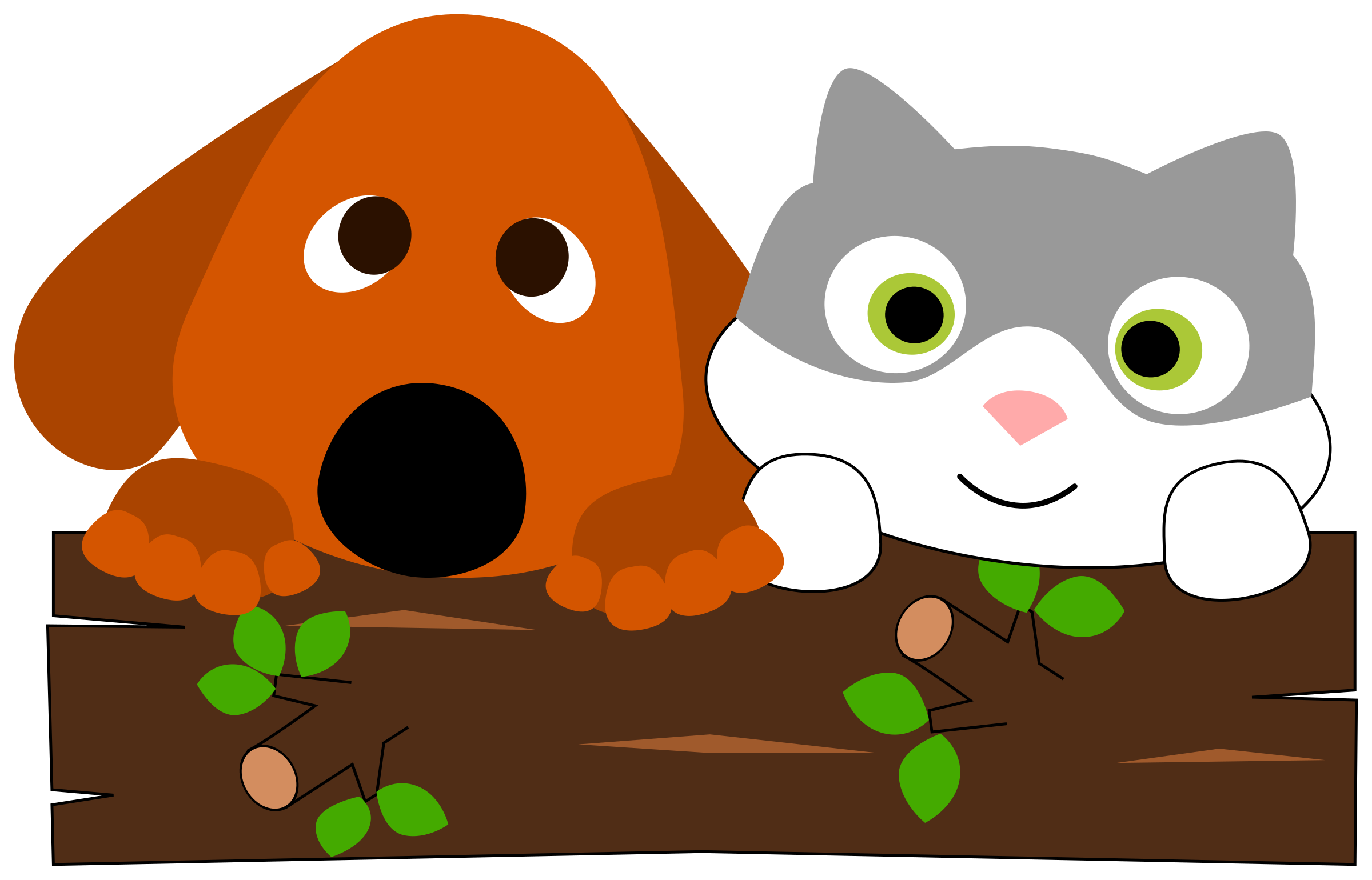 A dog and cat. Dogs clipart tree