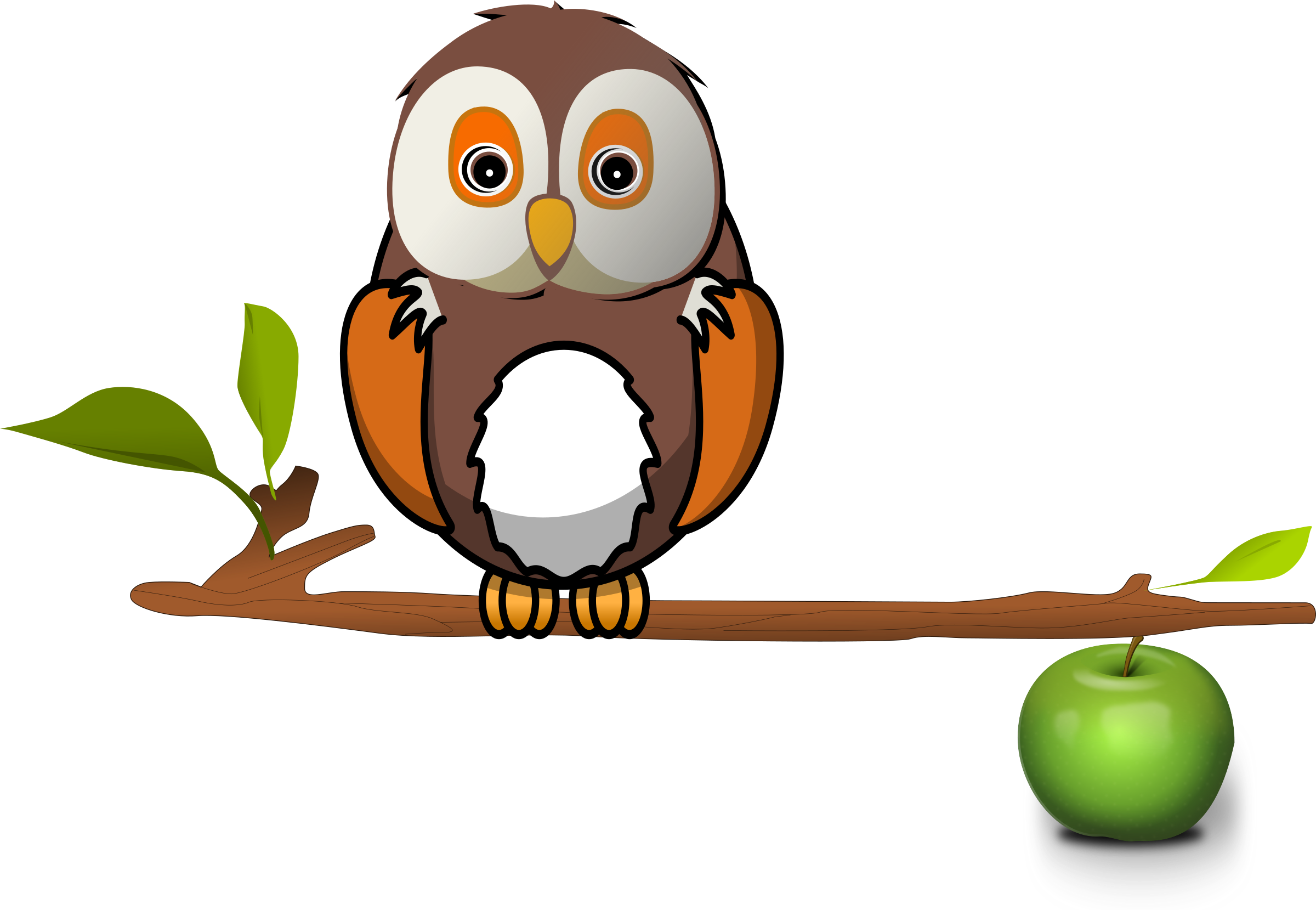 Owls clipart education. Owl on branch big