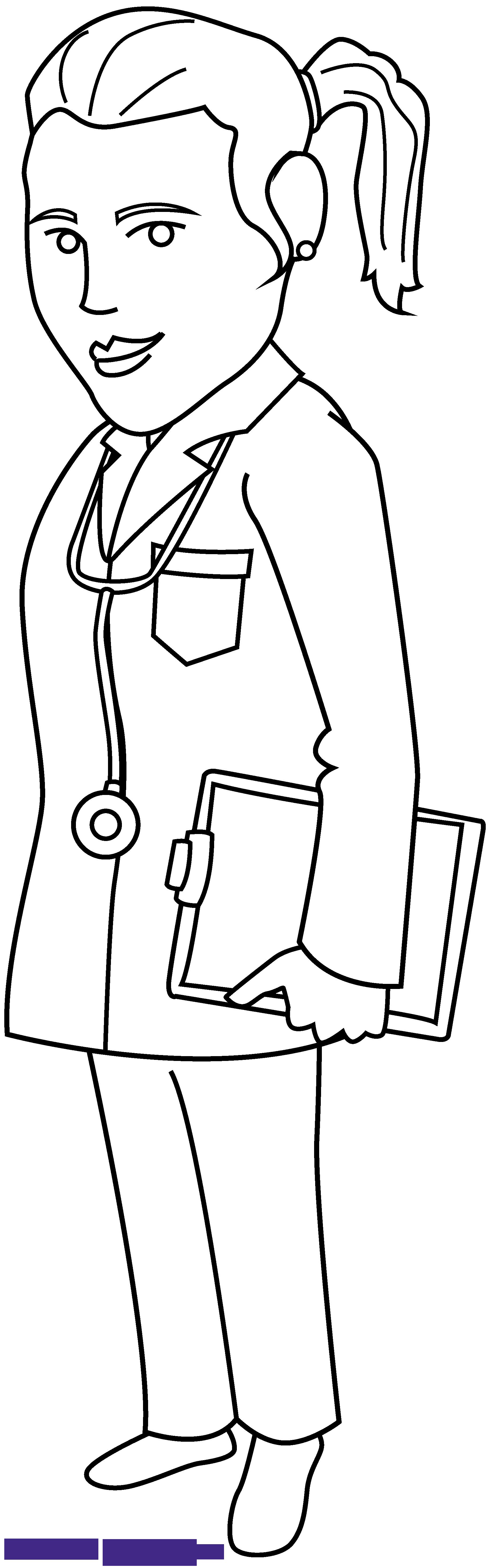 Line art sweet clip. Doctor clipart book