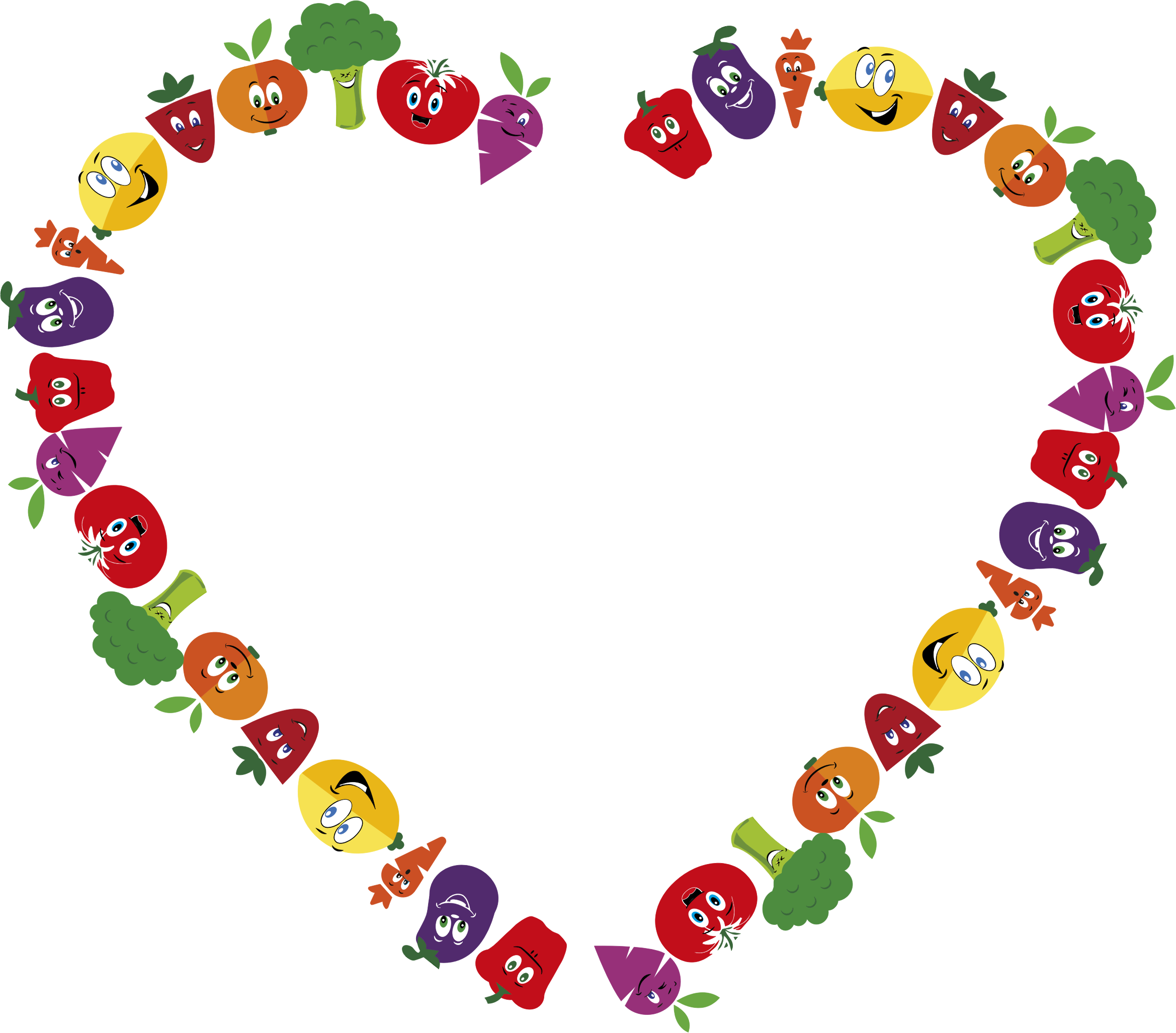 Heart clipart vegetable. Anthropomorphic fruits and vegetables