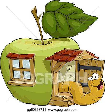 Vector art apple eps. House clipart worm
