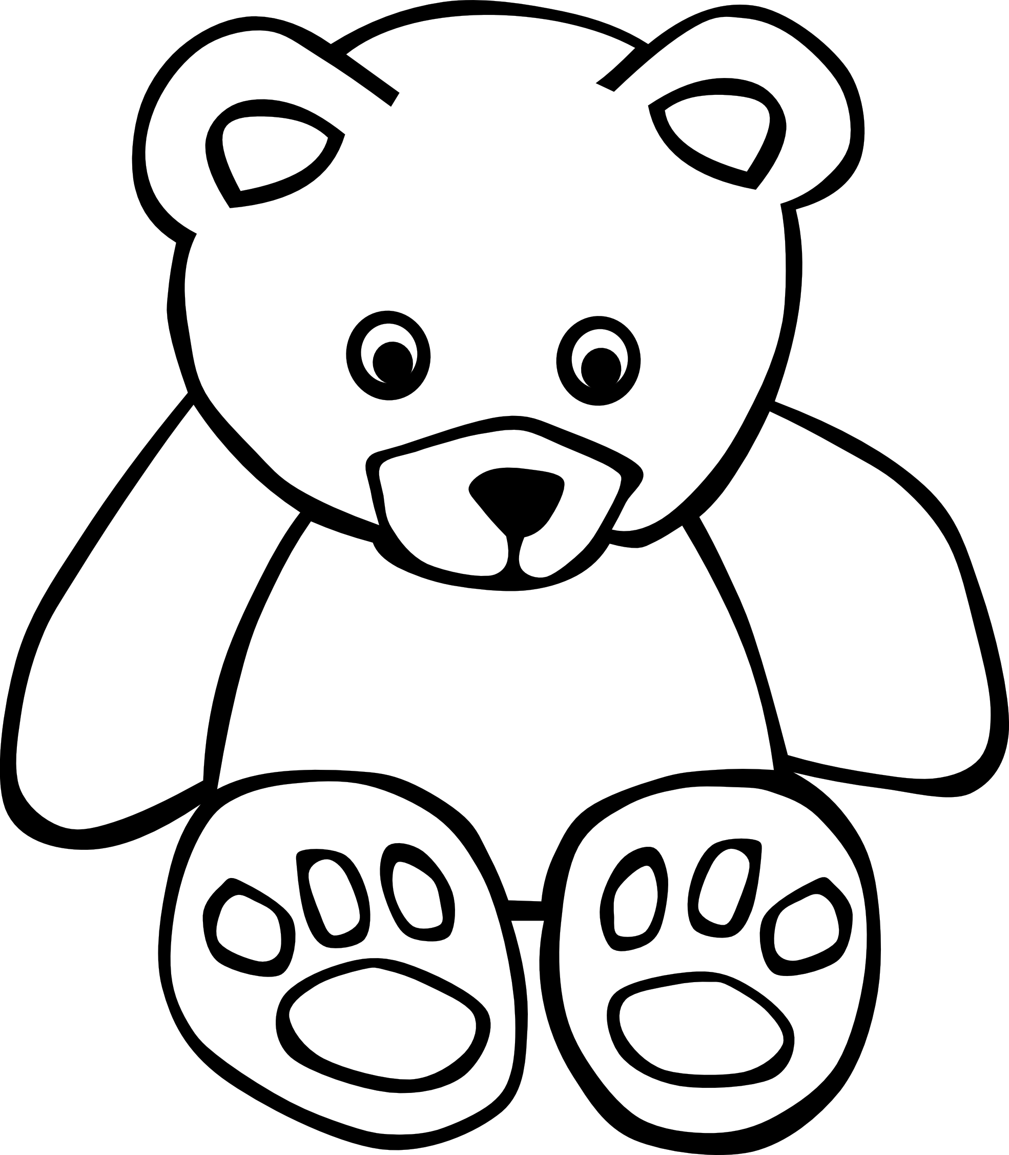 Head clipart black bear.  white line art