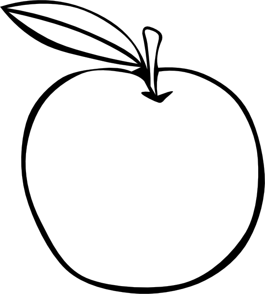 Apple coloring clip art. Fruit clipart silhouette
