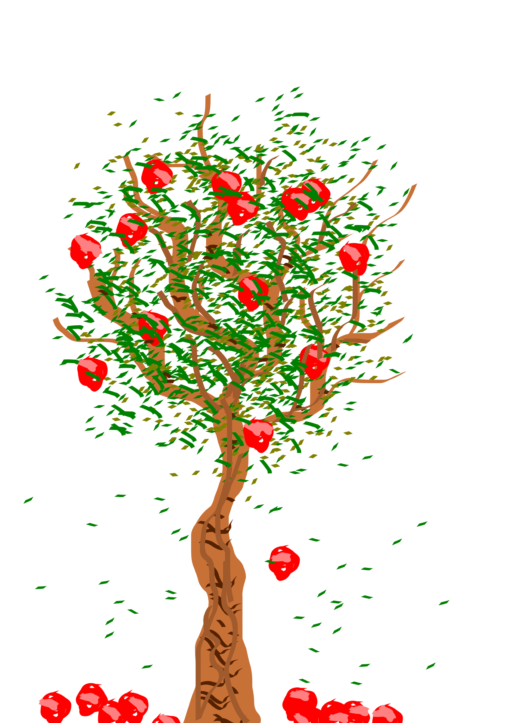 Fall clipart bare fall tree. Apple big image png