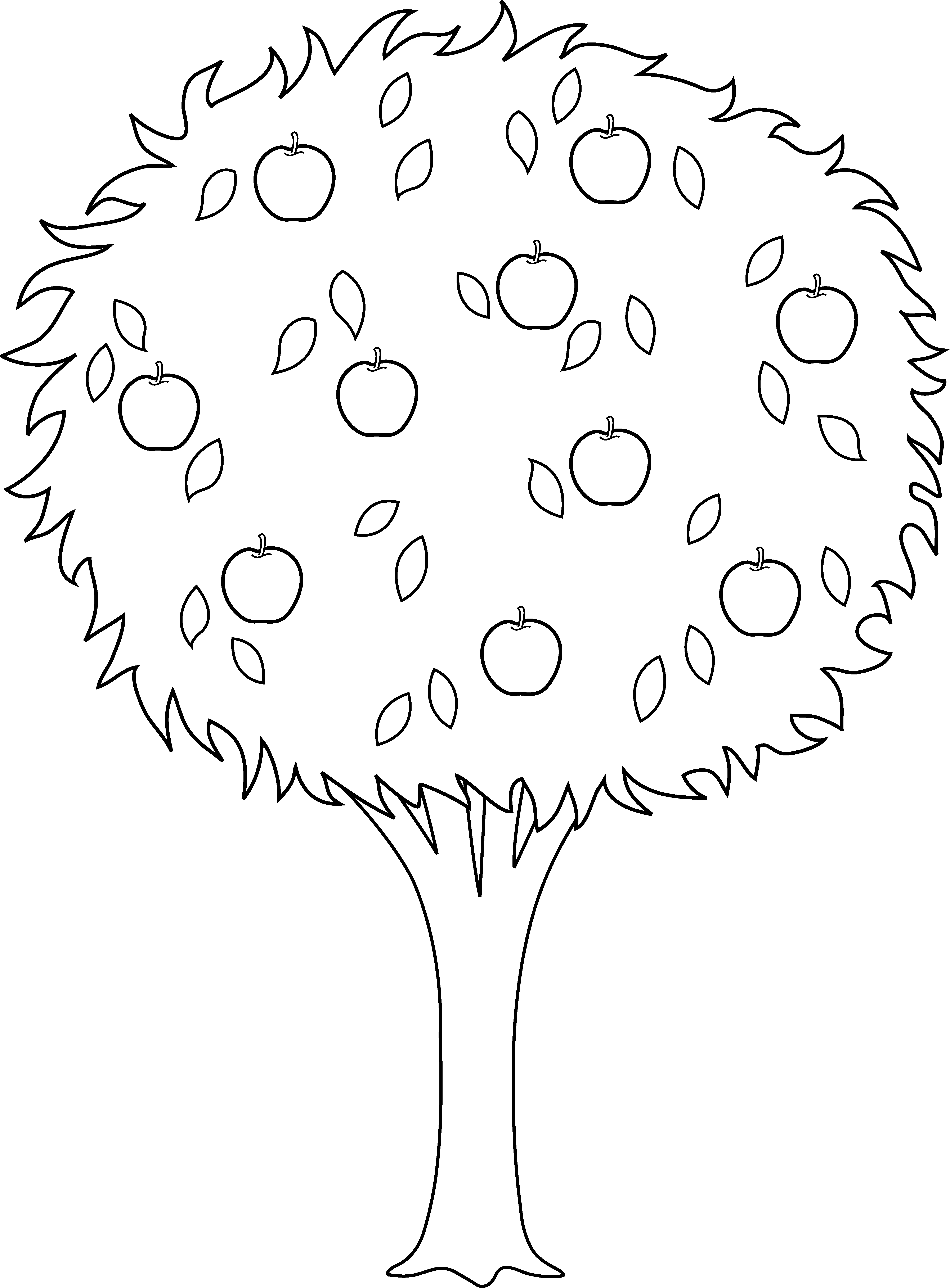 Clipart tree colour. Colorable apple outline free