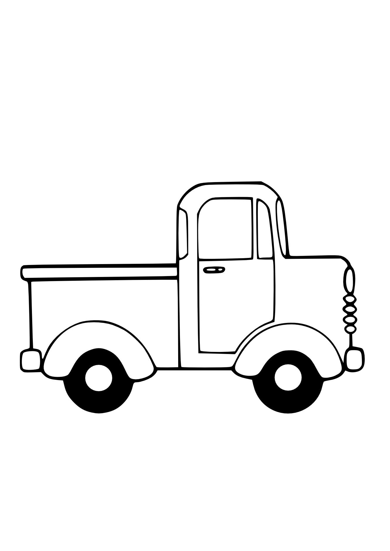 Truck black white line. Coloring clipart doll