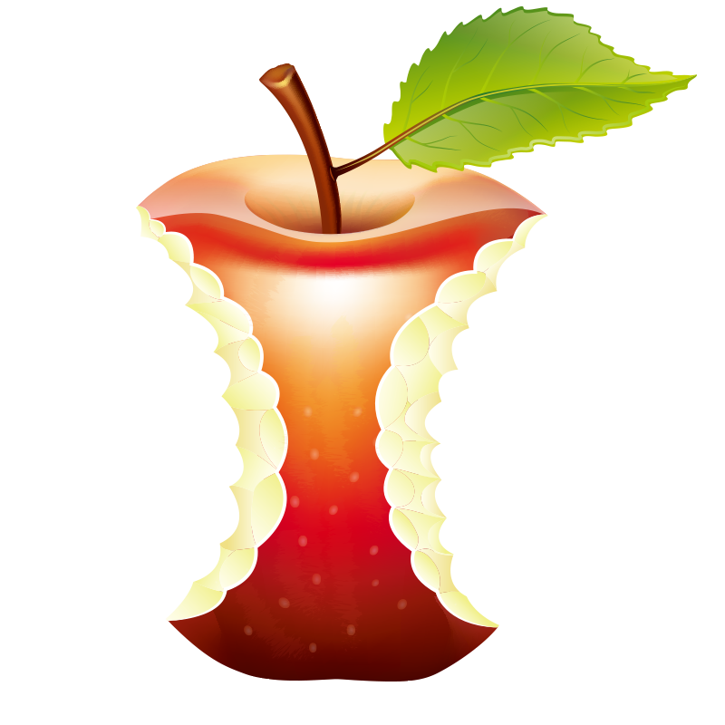 Paper recycling illustration bitten. Clipart apples waste