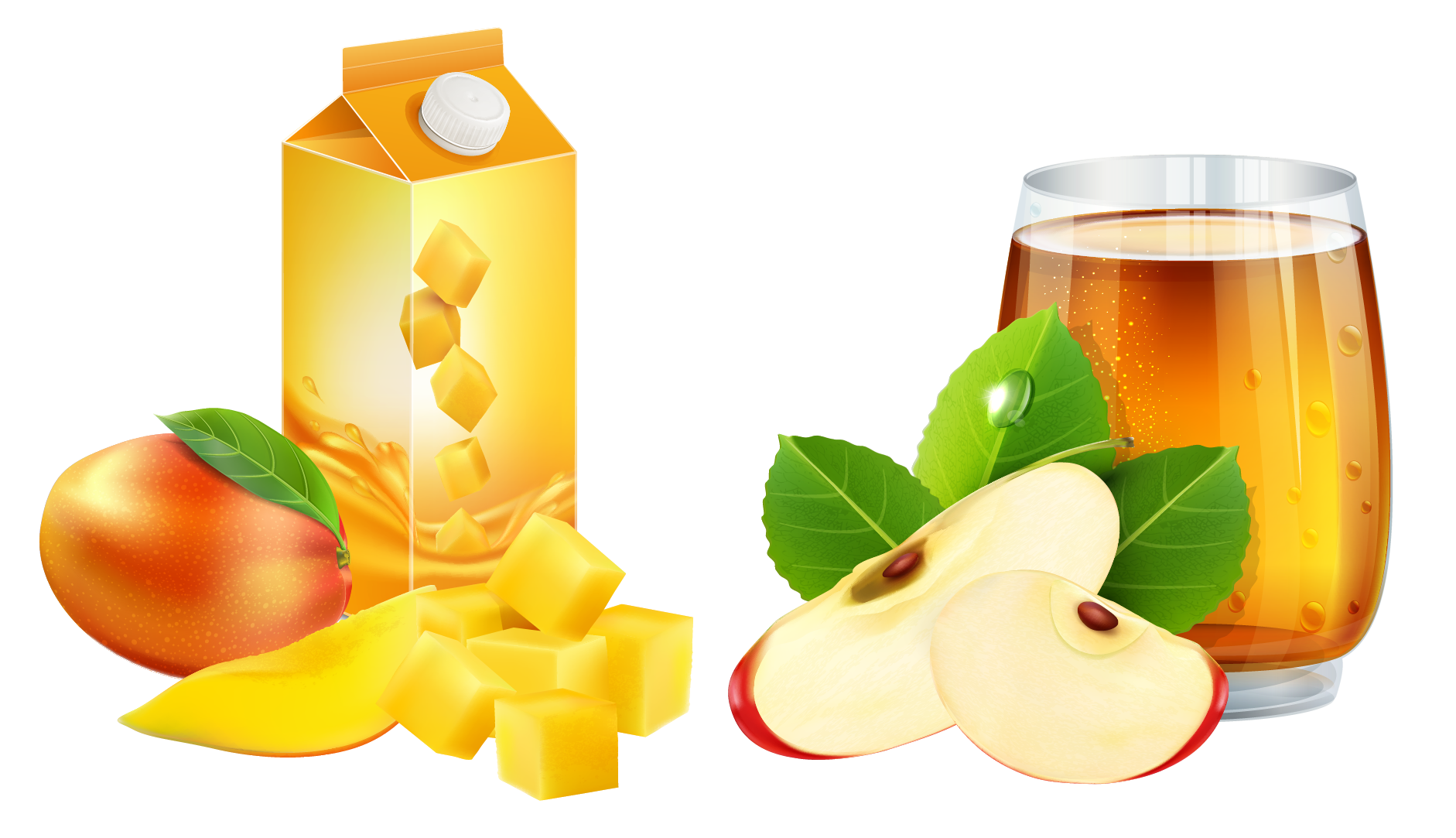Orange juice Apple juice Mango