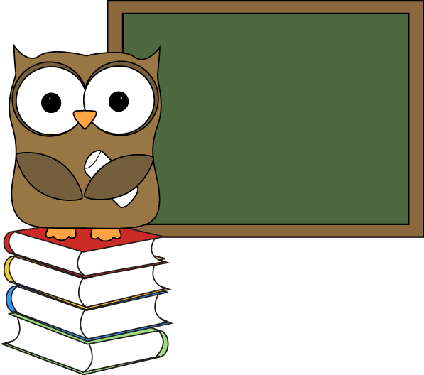 Pencil clipart chalkboard. Owl with books and
