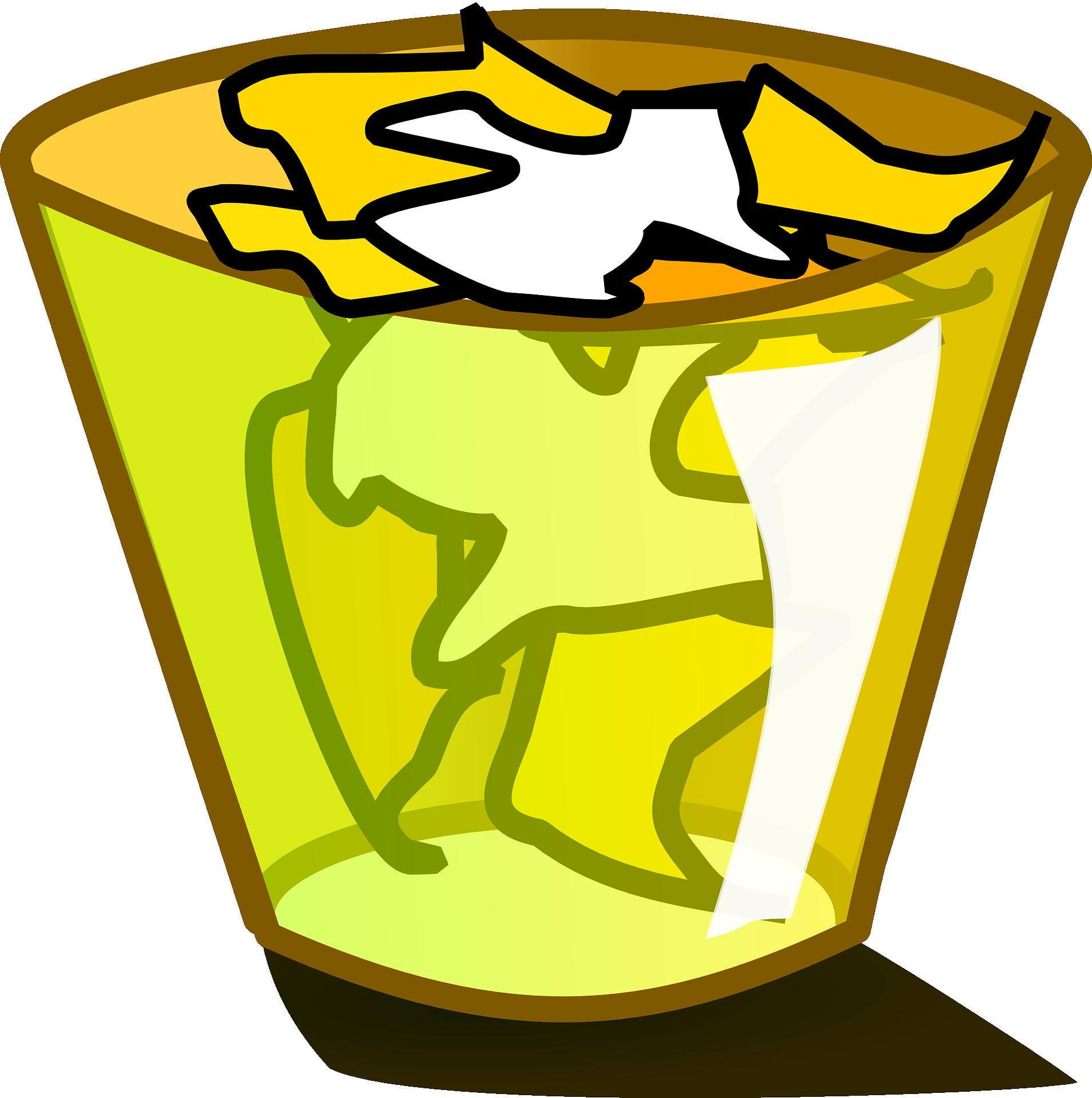 Rubbish bins paper baskets. Clipart apples waste