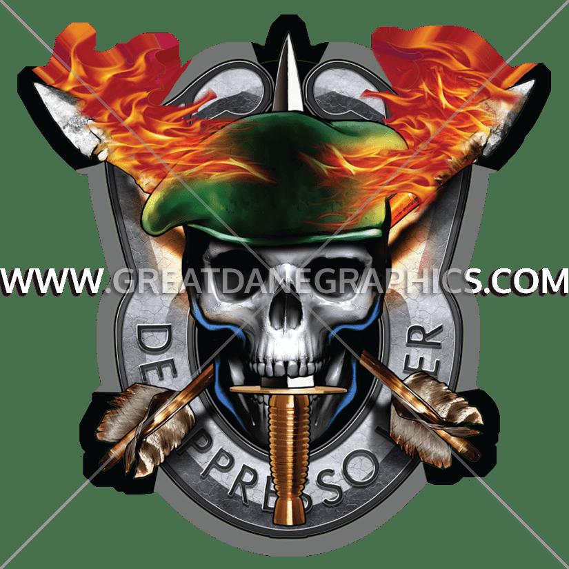 Green beret flaming arrows. Clipart gun skull