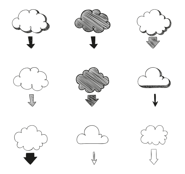 Clouds clipart chalkboard. Hand drawn arrows free