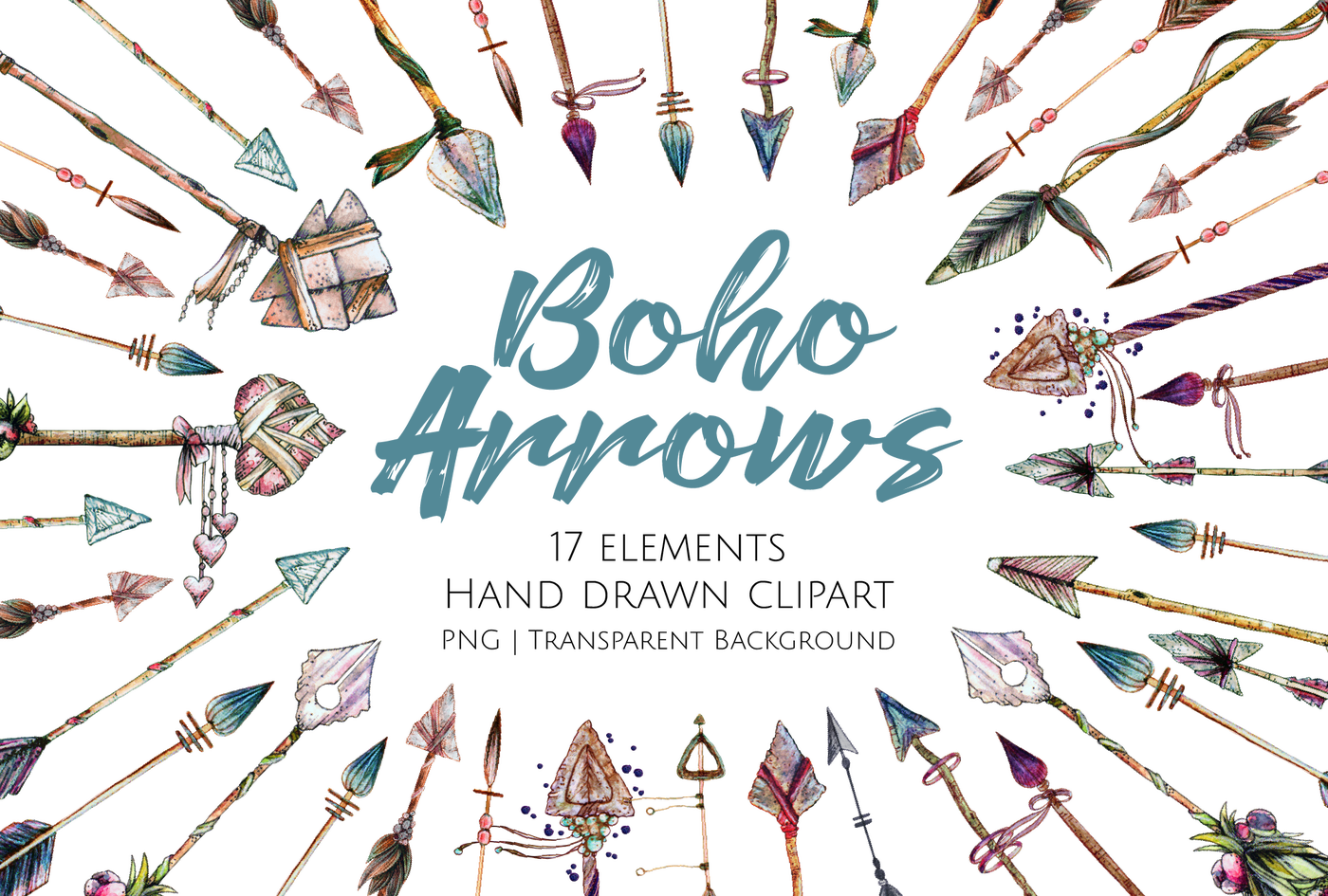 Boho arrows hand drawn. Worm clipart review time