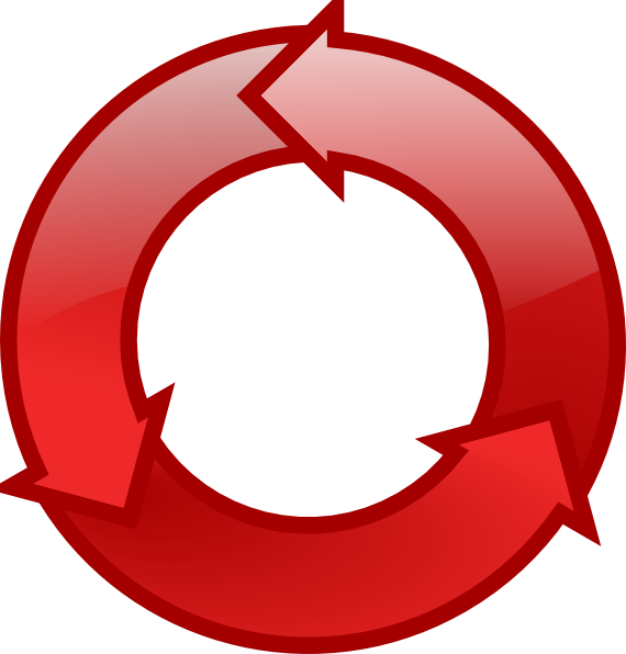 Red cycle icon clip. Dot clipart period
