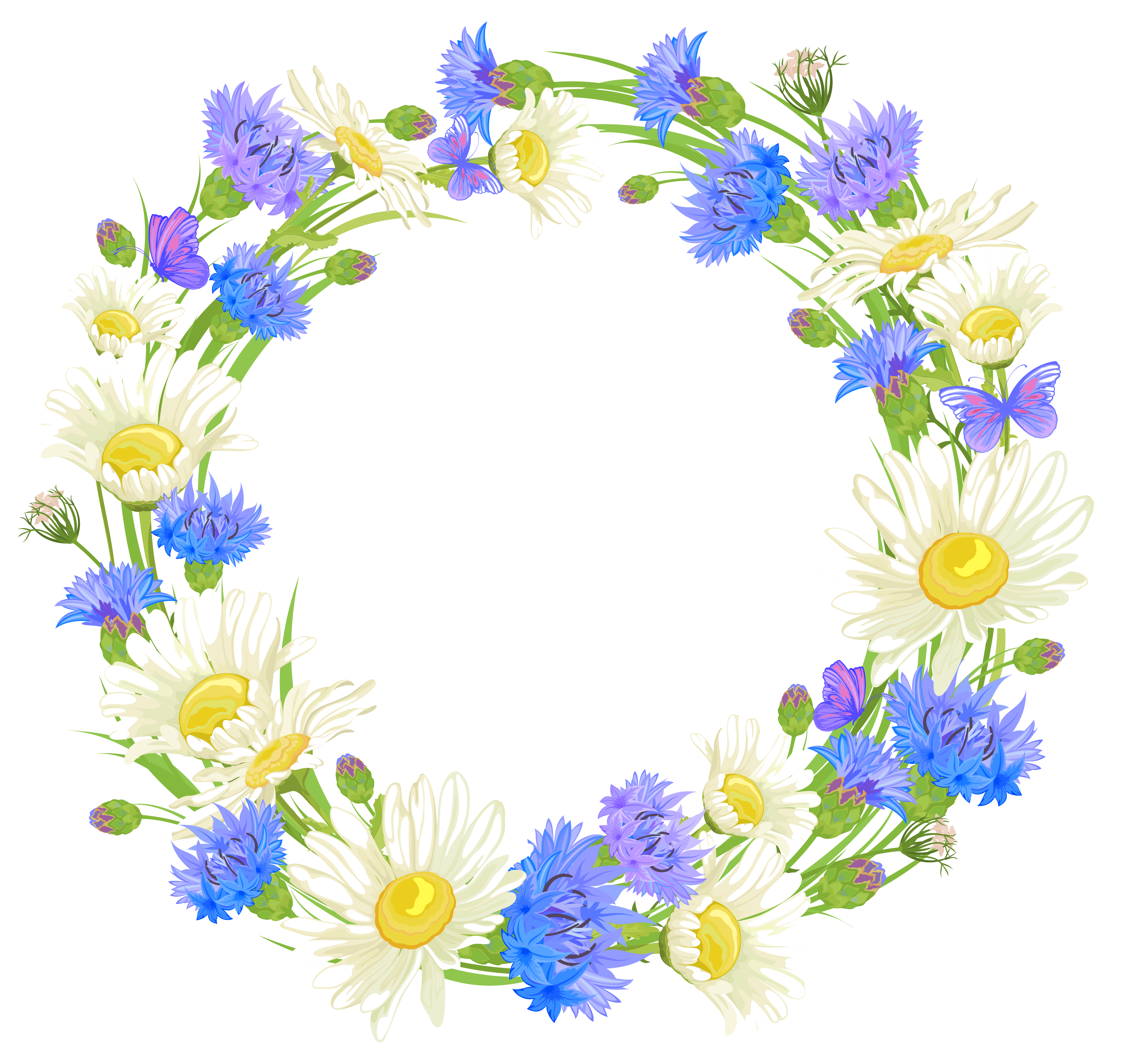 Field flowers wreath png. Clipart box watercolor