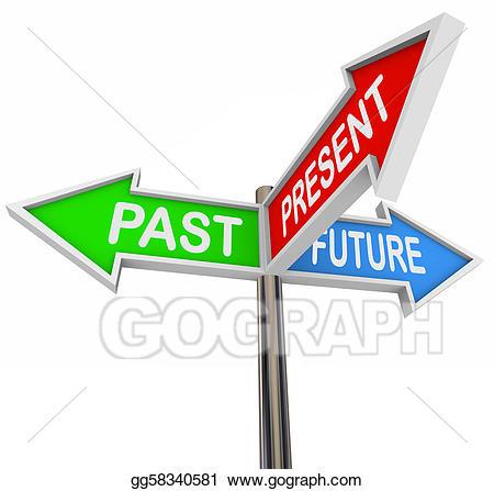 Stock illustration past present. Clipart arrows future