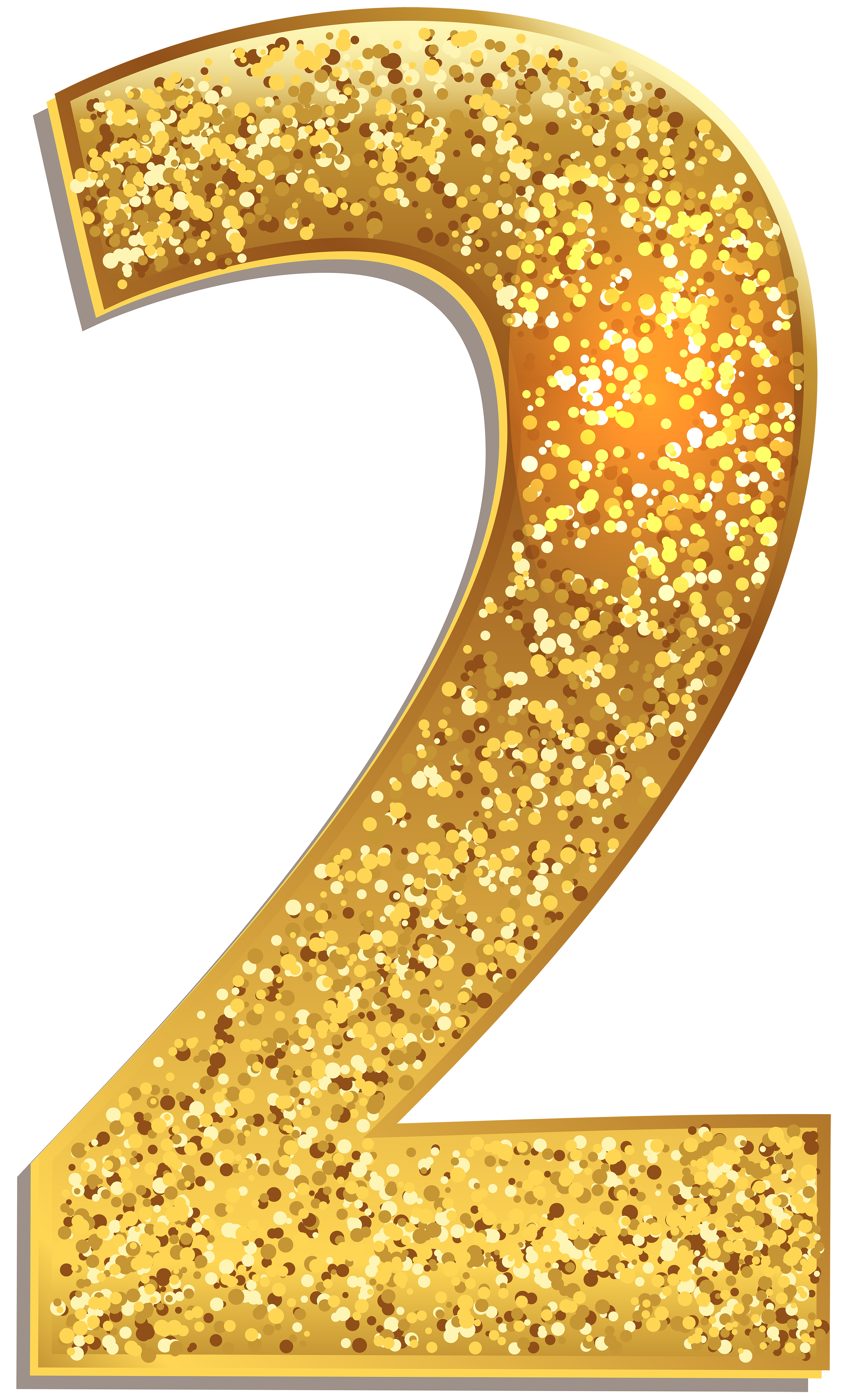 Glitter clipart gold bubble. Number two shining png
