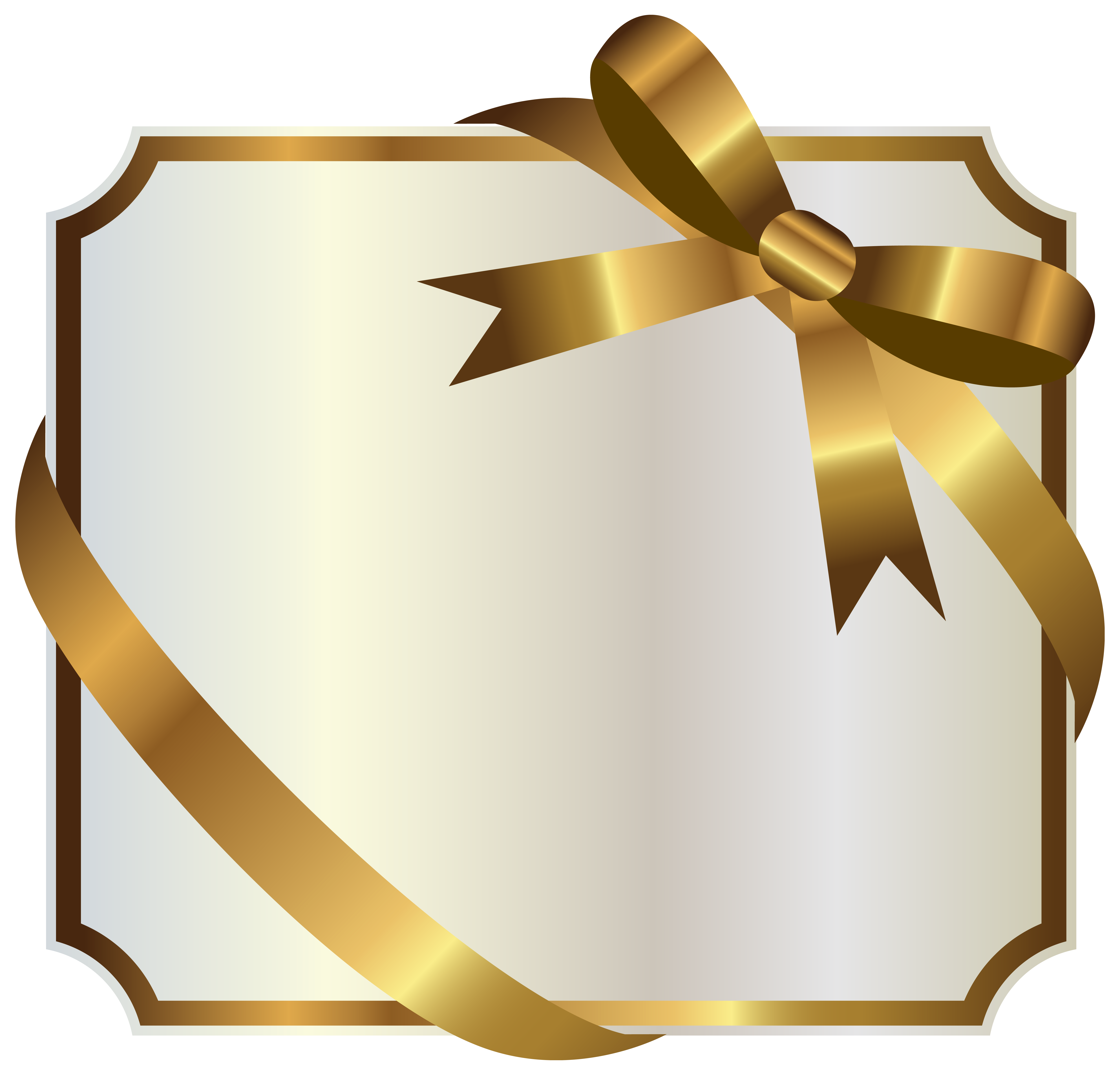White label with gold. Clipart frame ribbon