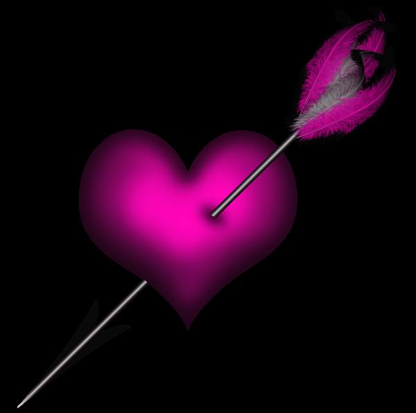Transparent pink heart with. Clipart arrows primitive