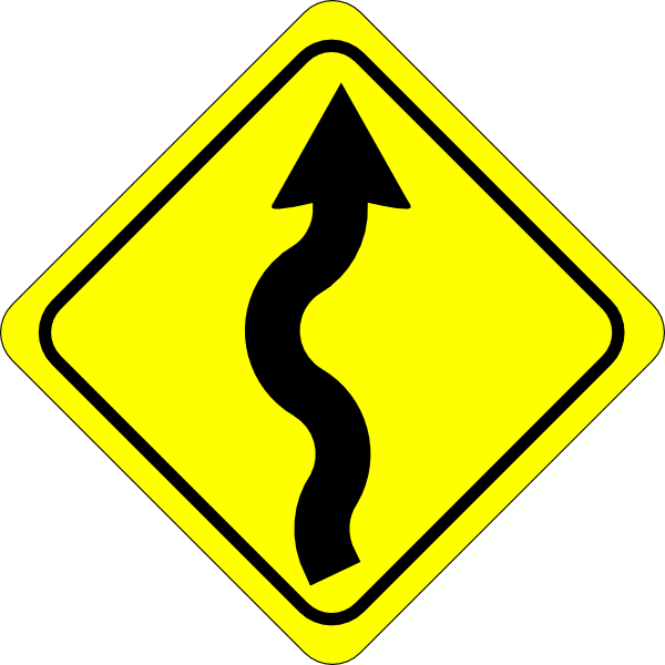 Clipart road road repair. Curvy ahead sign clip