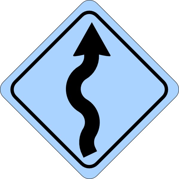 Blue curvy road ahead. Pathway clipart lane