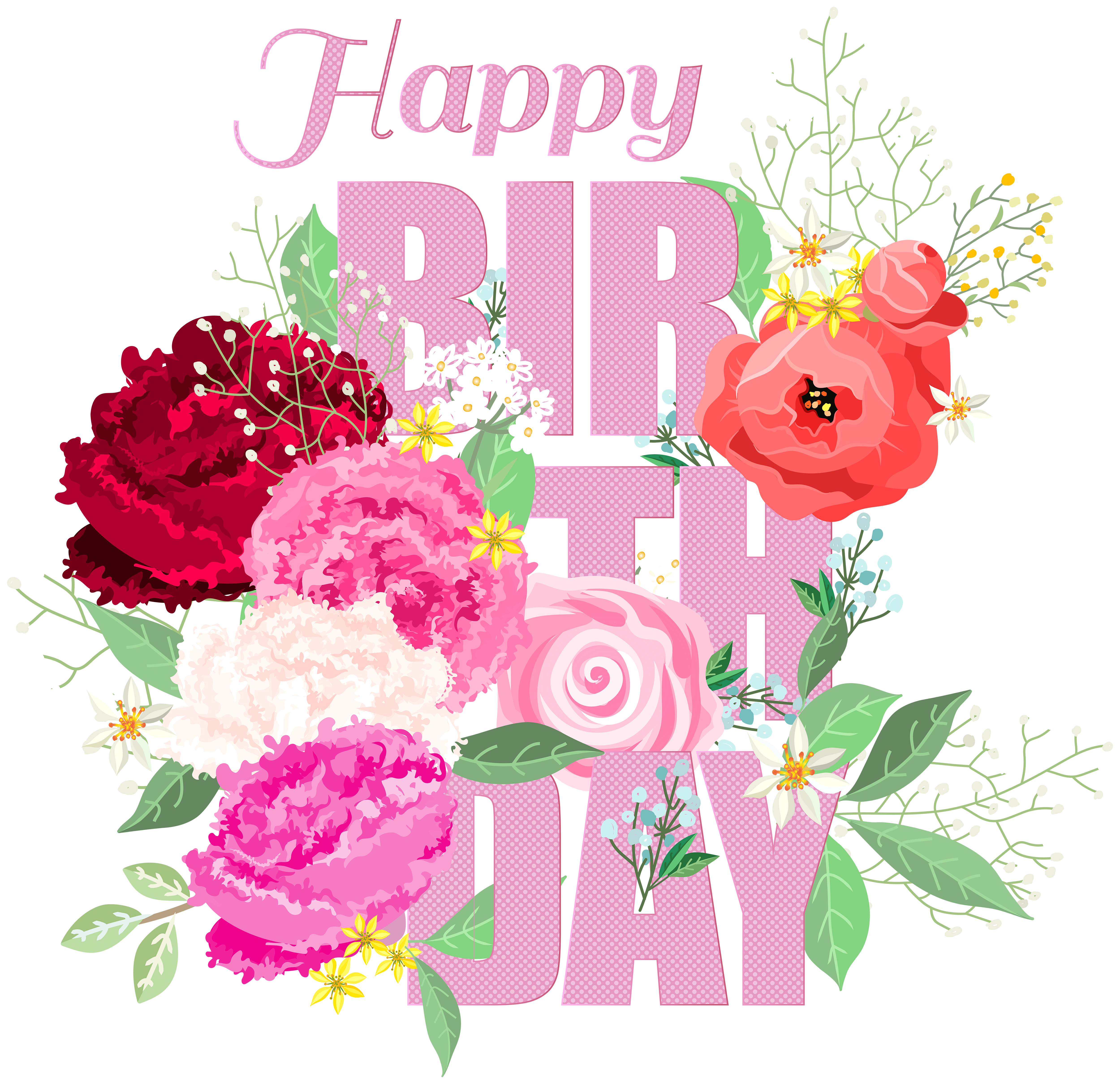 Happy birthday with flowers. Shell clipart clear