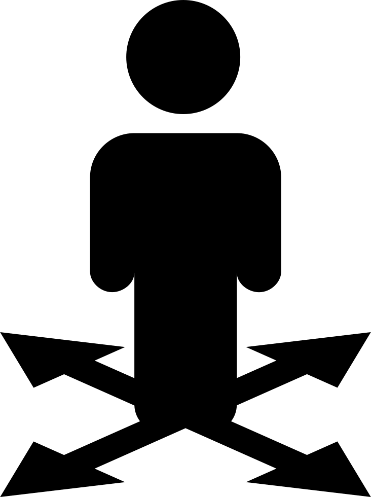 Clipart arrows silhouette. Man standing on symbol