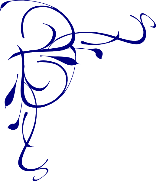 Left floral swirl clip. Frame clipart blue