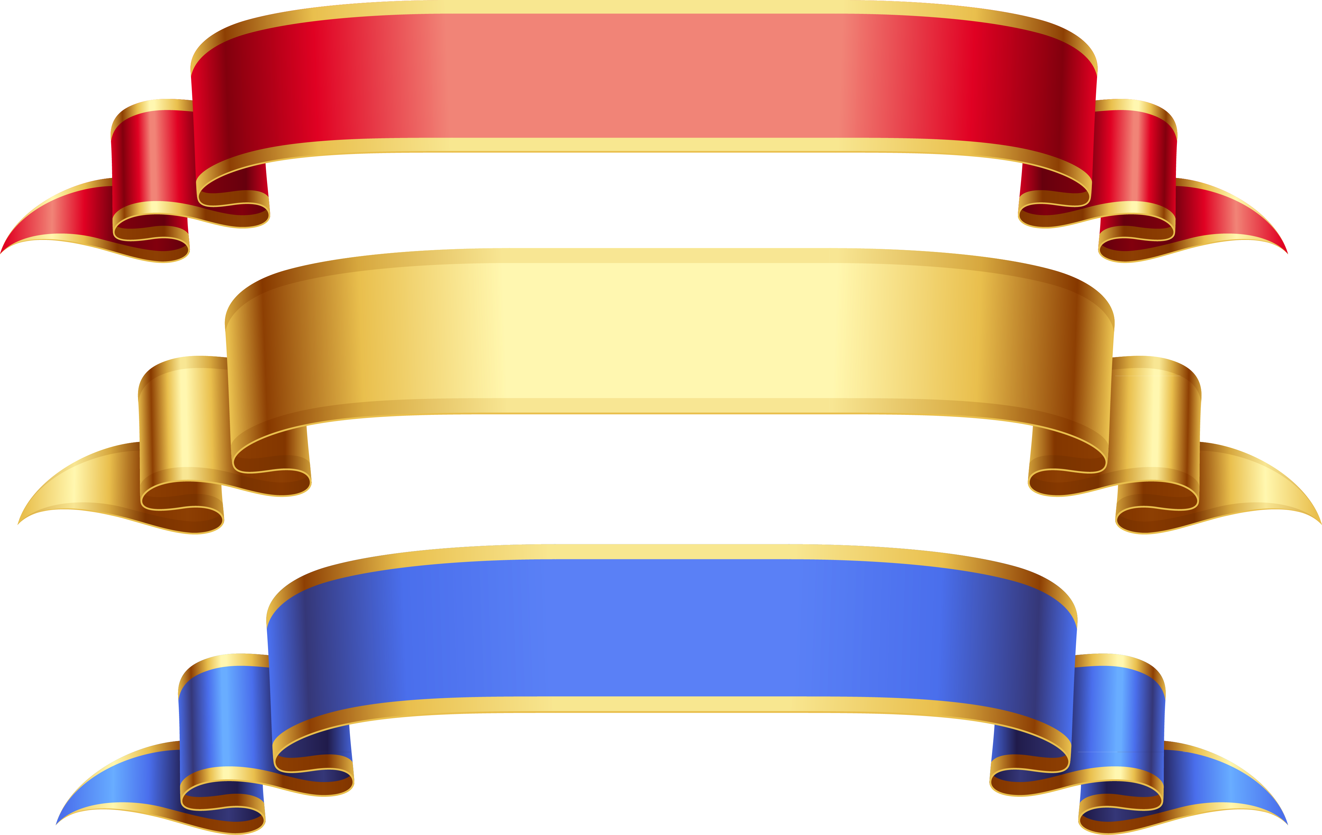 Large transparent red gold. Streamers clipart colored ribbon