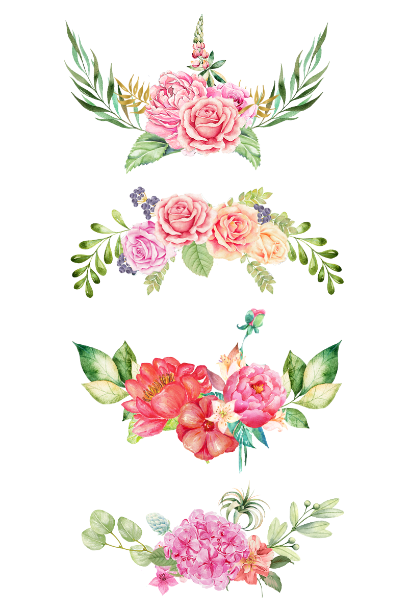 Watercolor flower border png. Flowers the bottom pink