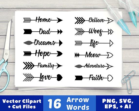 arrow words rustic. Clipart arrows word