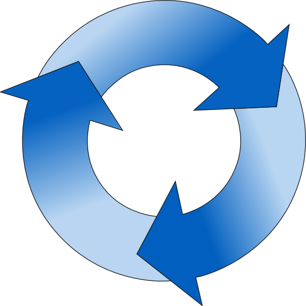 Cycle clipart circular. Arrow in blue hues