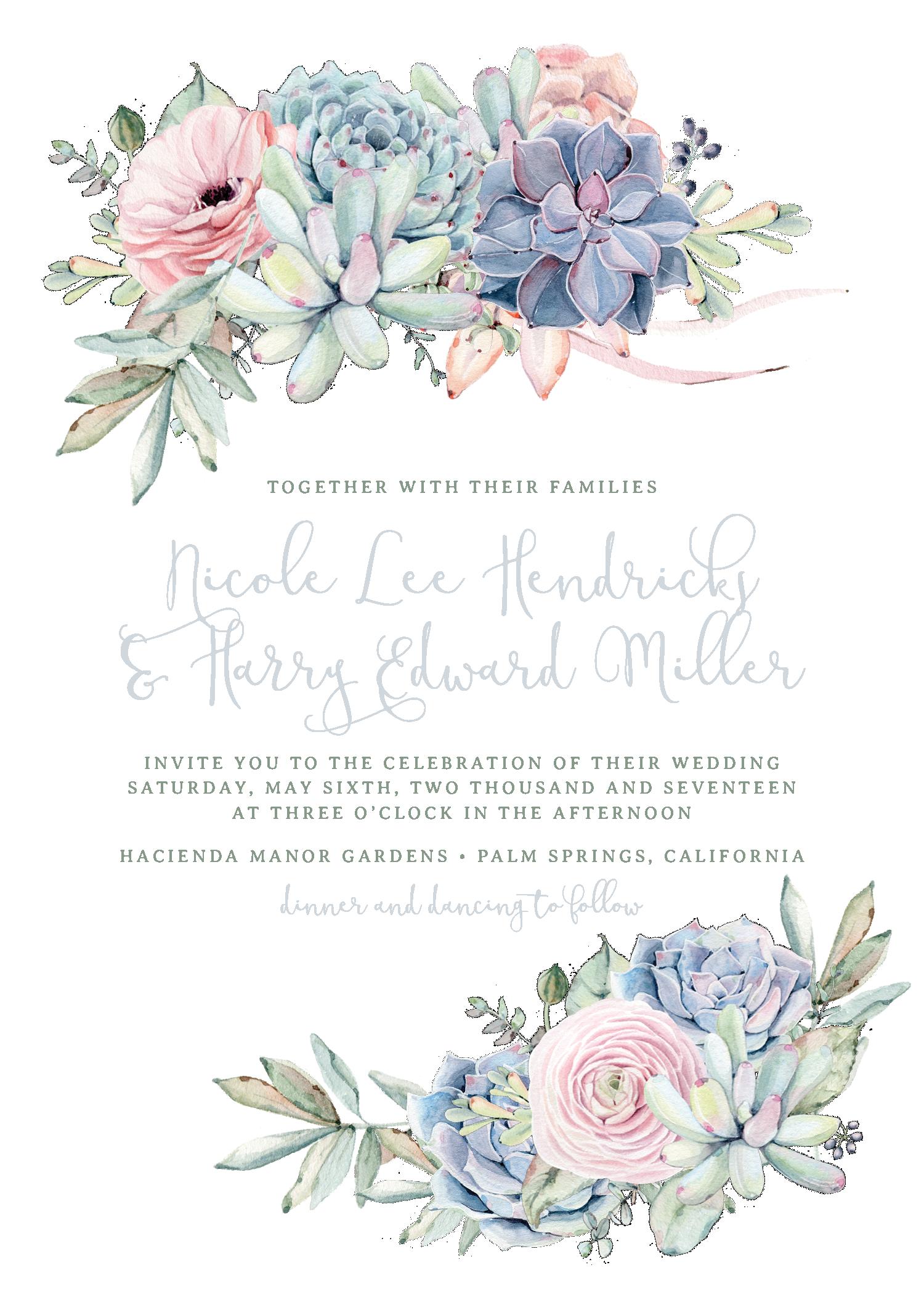 Sweet succulents invitation in. Clipart calendar wedding