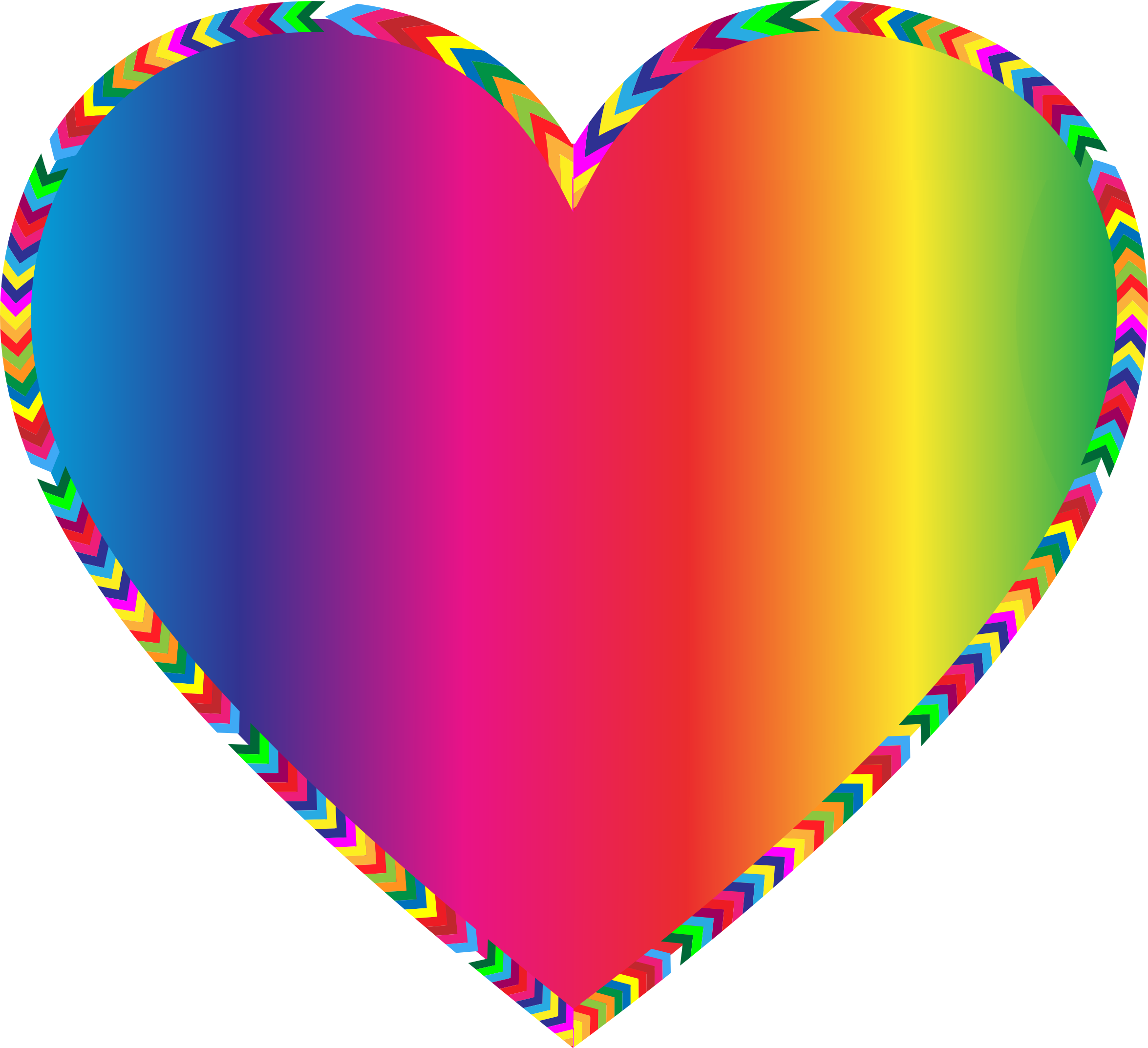 Clipart - Multicolored Arrows Heart Filled