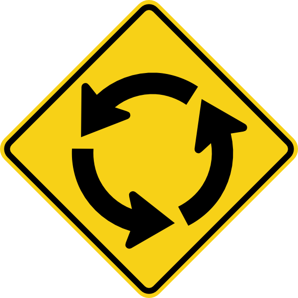 Clipart road intersection. Circular sign clip art