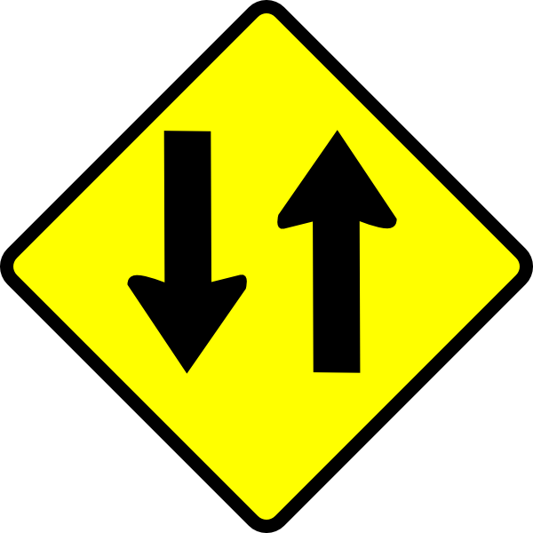 Caution two way clip. Clipart road street