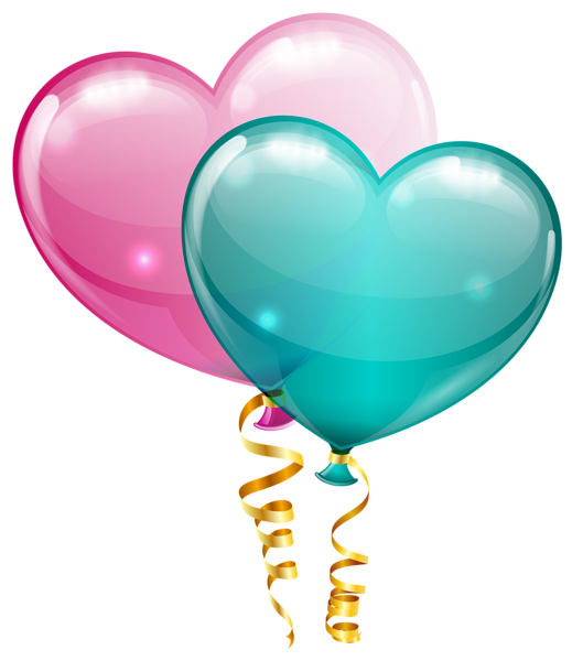 Pink and heart balloons. Congratulations clipart blue