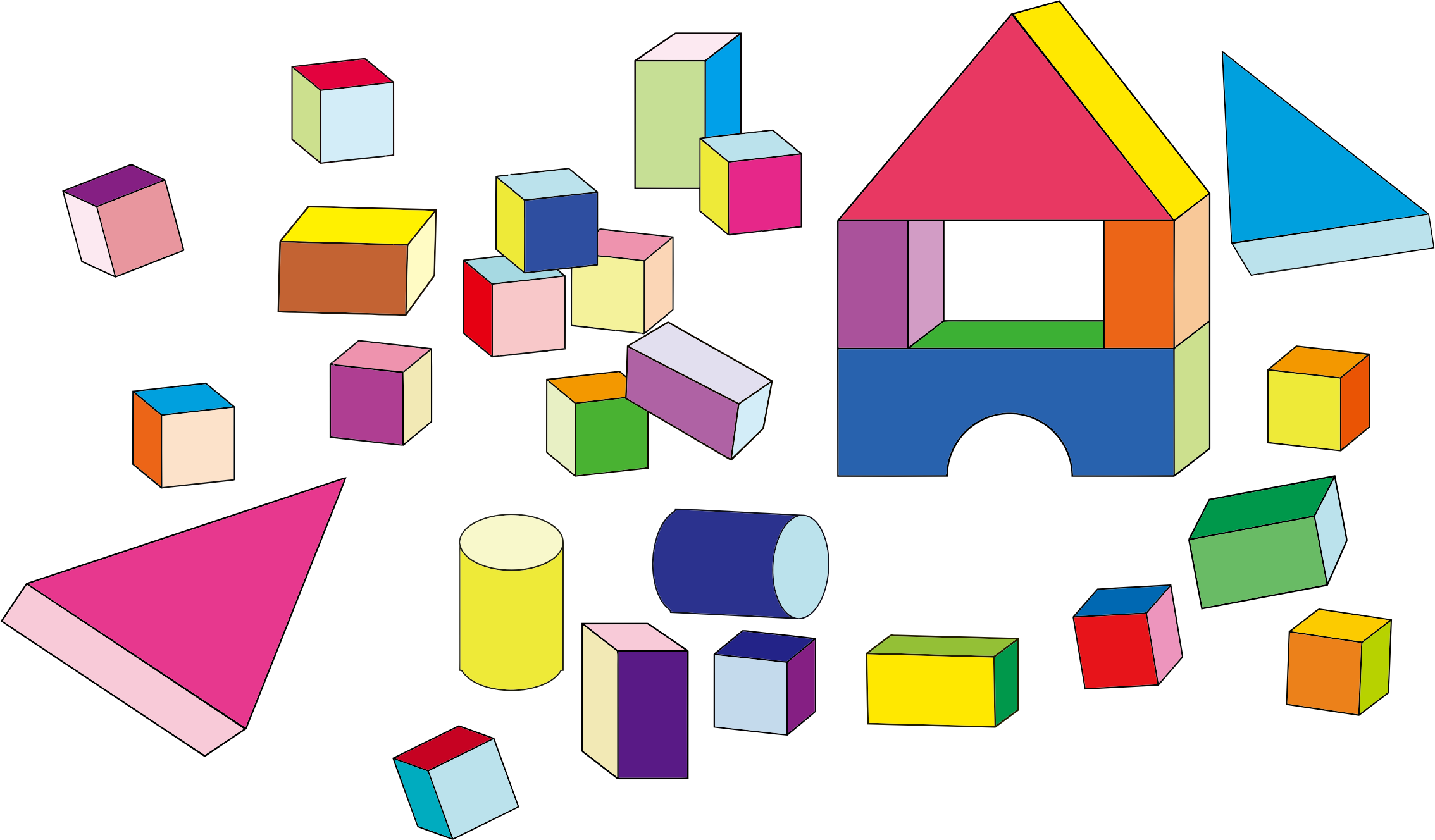 Building block toys icons. Clipart people toy