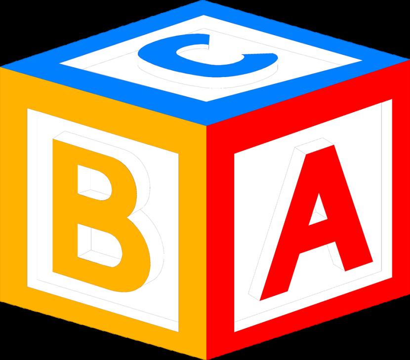 Alphabet blocks image group. Cube clipart abc