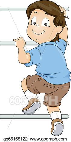 Vector illustration boy climbing. Ladder clipart kid