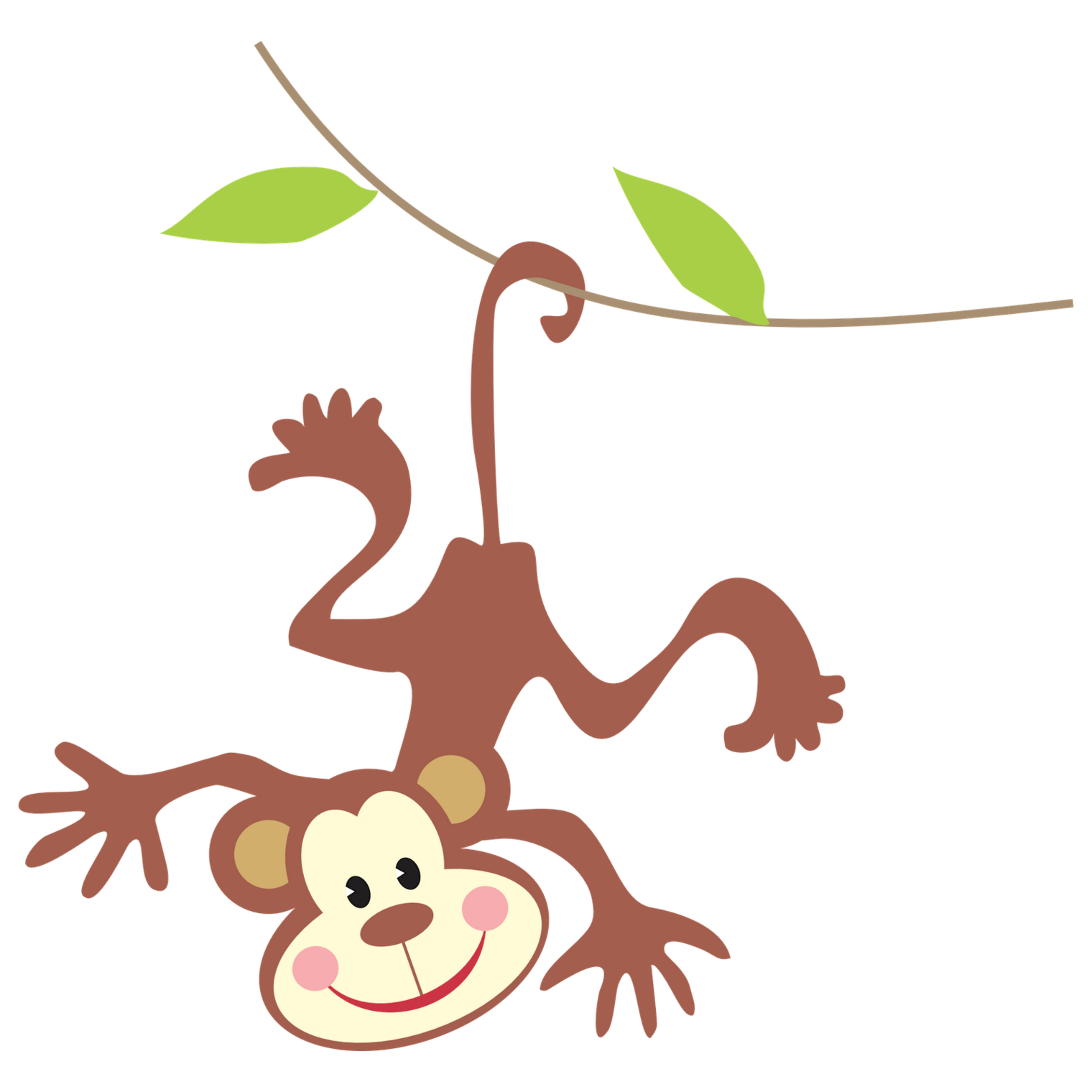 Clipart monkey template. Hanging image group baby