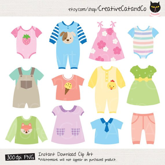 Clothes clipart printable. Baby dress shower