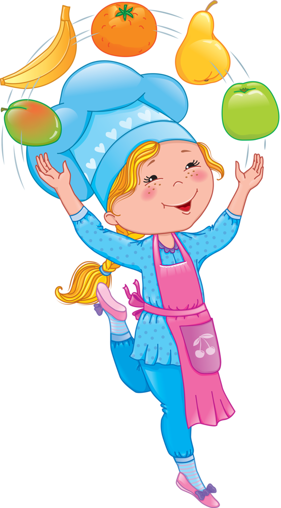 Baby cook juggles fruits. Cookbook clipart career hat