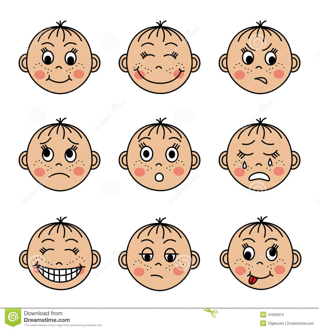 Collection emotions . Faces clipart feeling