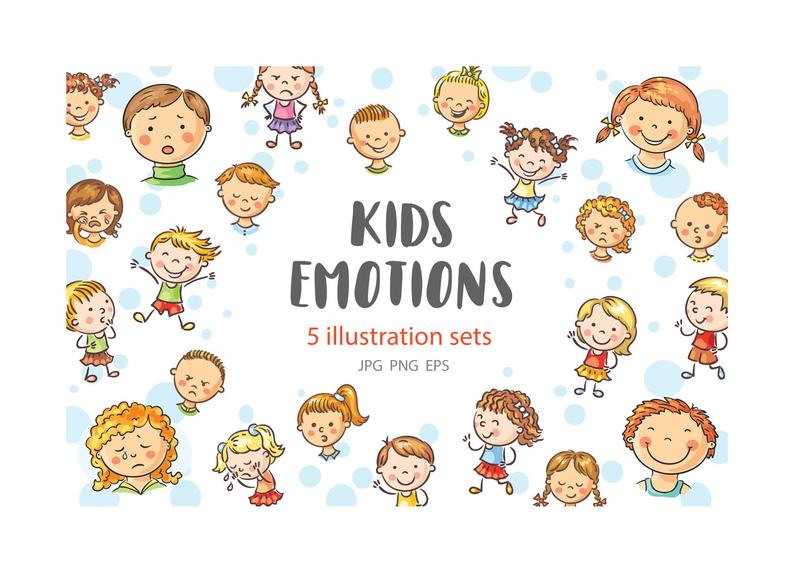 Emotions clipart head. Kids bundle children with