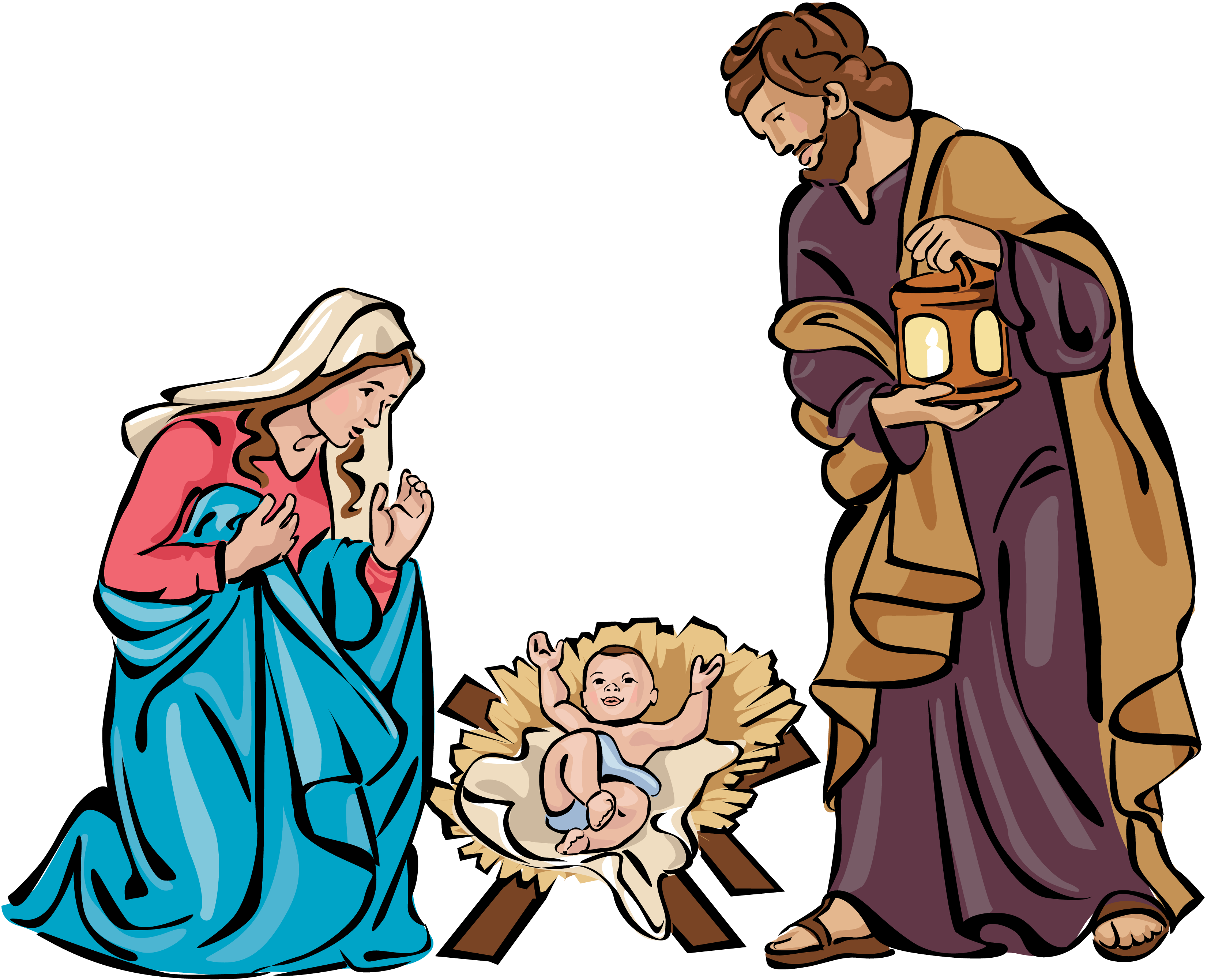 Christmas holy family clip. Heaven clipart scenery