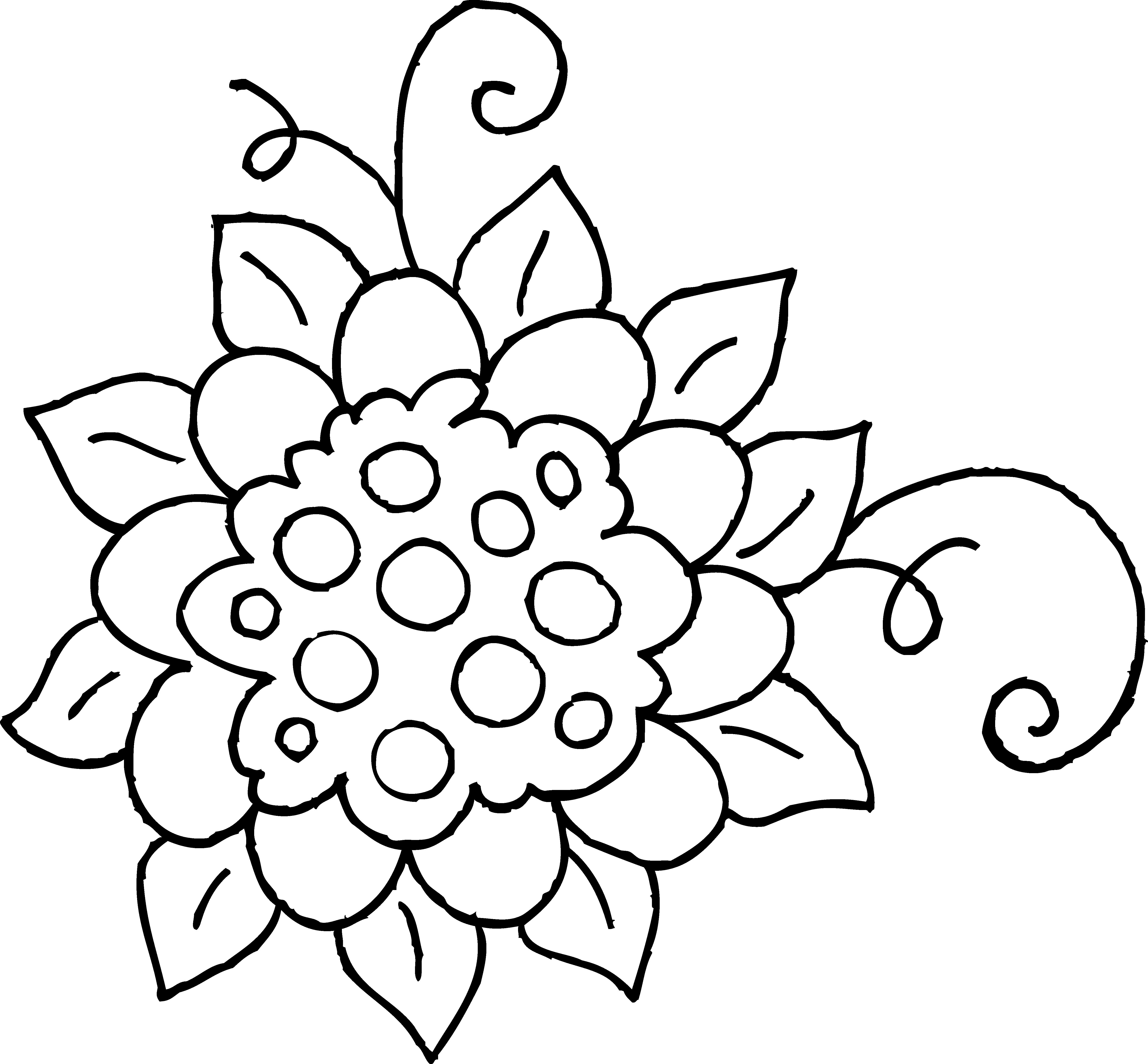 Cute spring flower free. Number 1 clipart coloring page