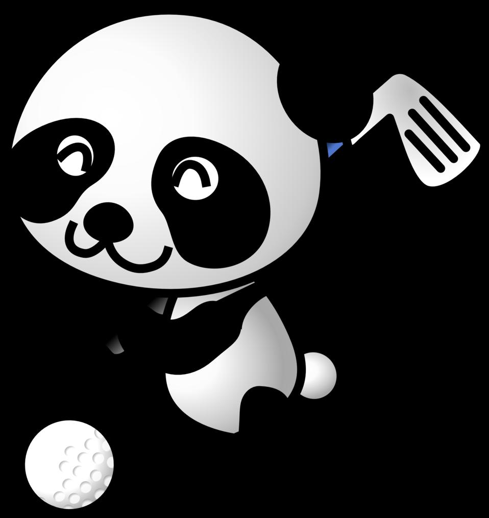 Golf panda http www. Golfer clipart black and white