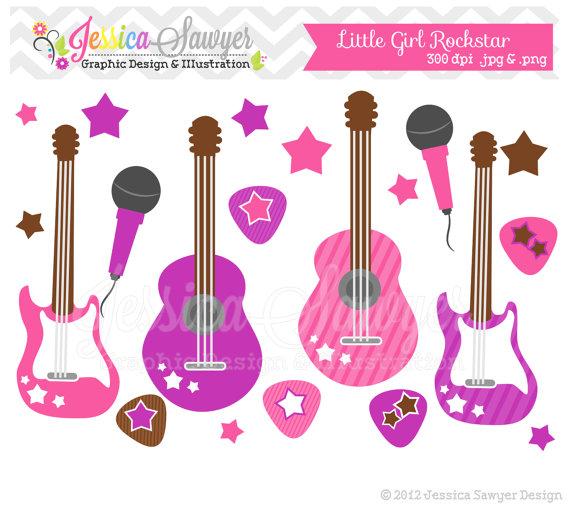 Clipart guitar rockstar guitar. Instant download little girl